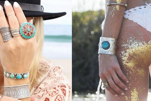 two hands with bracelets in turquoise for a hippie chic style