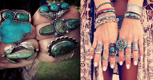 rings in boho style with silver and turquoise