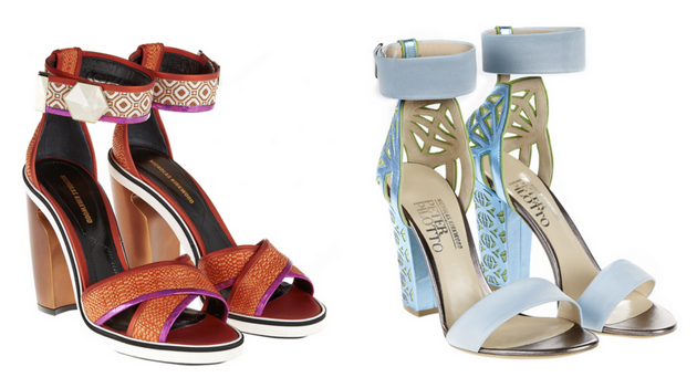 two pair of sandals from Nicholas Kirkwood. One is red and the other one blue laser cut
