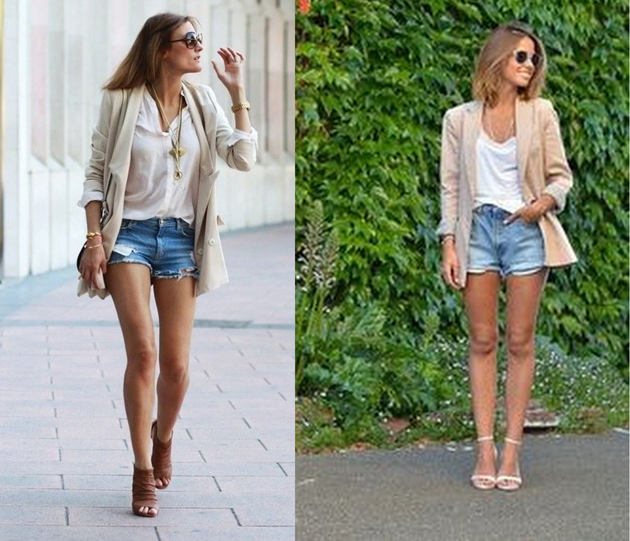 two girls wearing denim shorts and beige blazer for summer outfits
