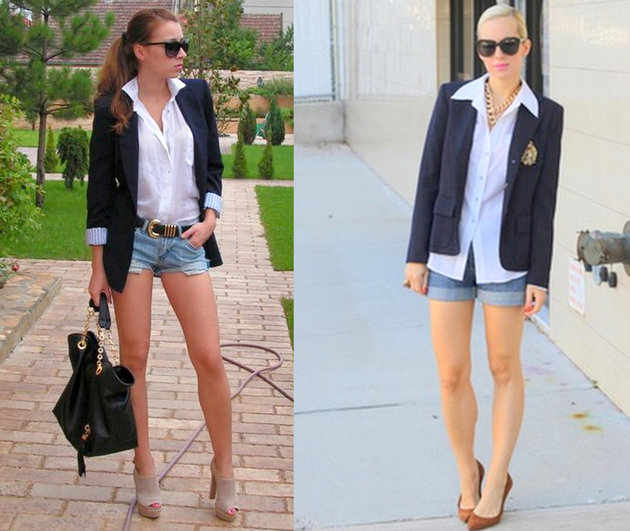 two ladies wearing high heels, denim cut off, white shirts and blazer.