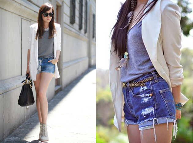 beautiful girls wearing casual style in denim short pants with grey t-shirts and white blazer. perfect outfit for summer