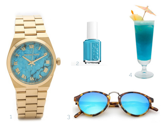 Michael Kors watch, blue nail polish from Essie, sunglasses from Spektre, and a blue cocktail