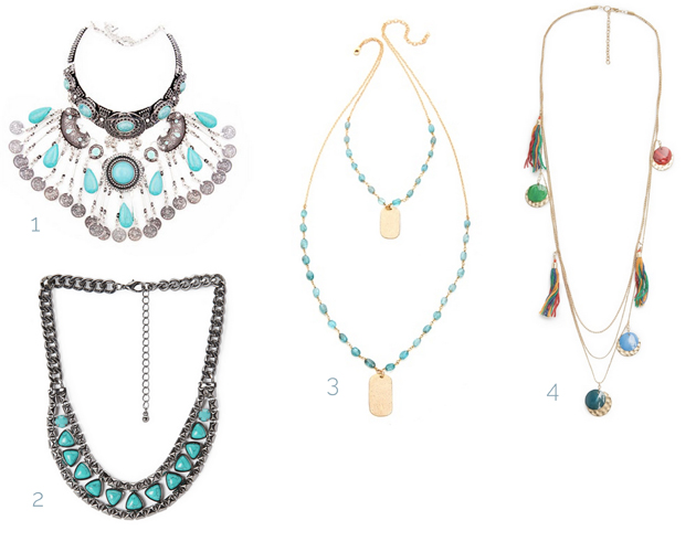 necklaces in boho and hippie style with turquoise for buying online