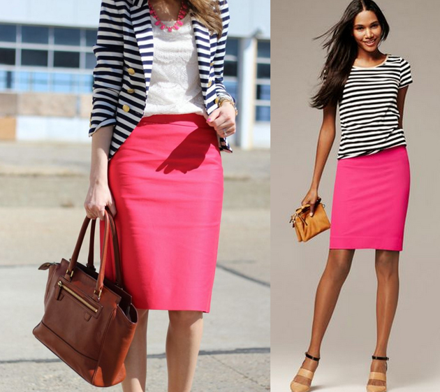 Woman wearing a pink pencil skirt with stripes blouse in an elegant outfit