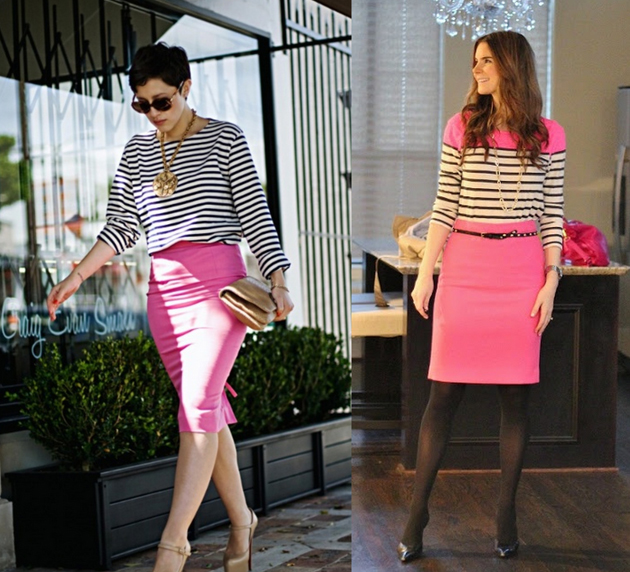 Girls wearing pink pencil skirt with stripes. Office combinations by Style Advisor