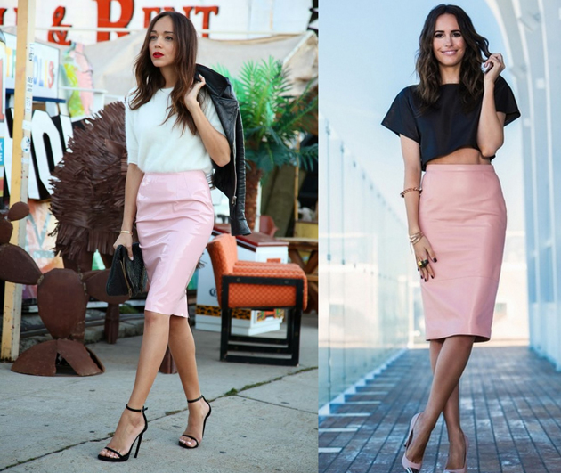 Girls wearing pink pencil skirt with white and black shirts for office. Outfits by Style Advisor