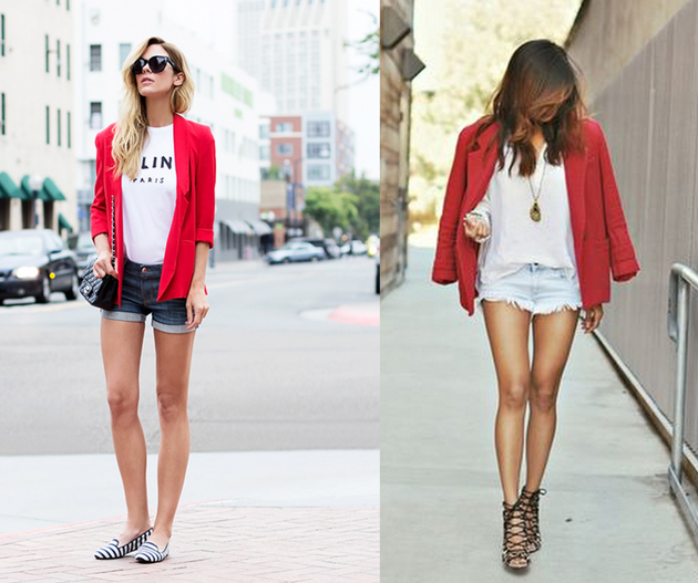two girls wearing summer outfits in denim shorts and hot red blazer.