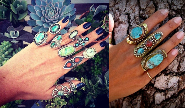 hands with many rings with turquoise in a hippie boho style