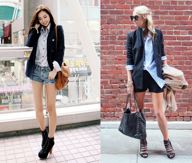 style advisor collection with two girls wearing denim short pants and elegant shirts for a casual look.