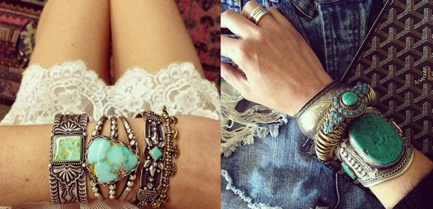 two fotos with bracelets in boho chic style with turquoise