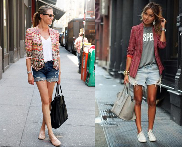 models wearing sporty outfits with denim shorts, converse and colored blazers