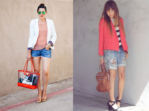 nice ladies wearing denim short pants with blazers and stripes blouses