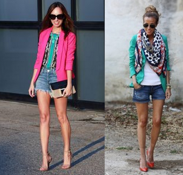 women in colored blazers and denim shorts. they are looking lovely wearing high heels