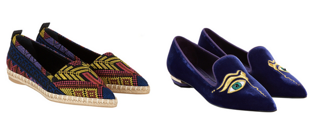 two pair of shoes from the designer Nicholas Kirkwood in ethnic style and casual.