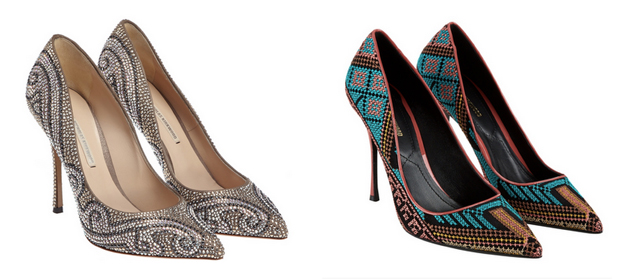 two pair of pumps with details for party from the brand Nicholas KIrkwood
