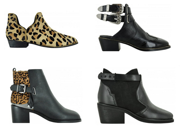 fours pairs of ankle boots from Senso. Two in animal print and two are black boots.