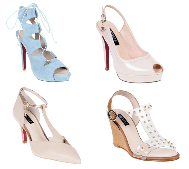 elegant shoes in light blue with laces and beige. they are trendy and perfect for weddings