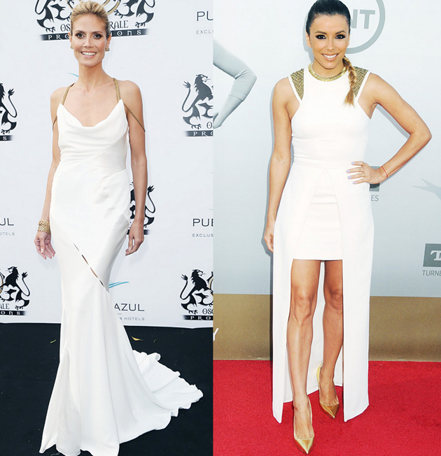 stars wearing white dresses on the red carpet. Eva Longoria and Heide Klum are having white dress with golden shoes