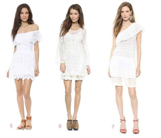 three models with different white dress and different shoes.