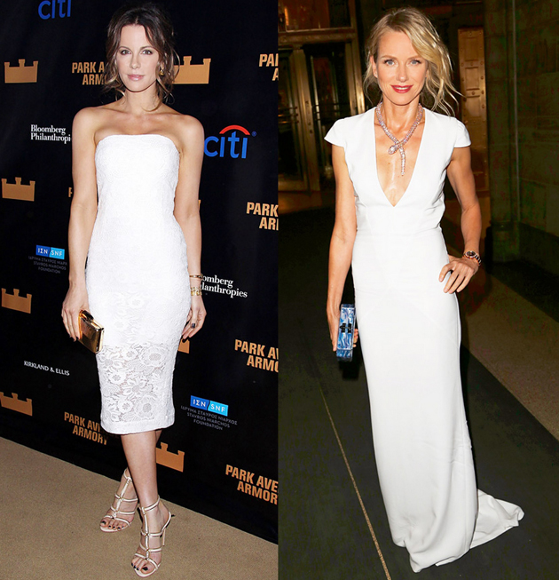 Two Hollywood stars wearing white dresses on red carpet.