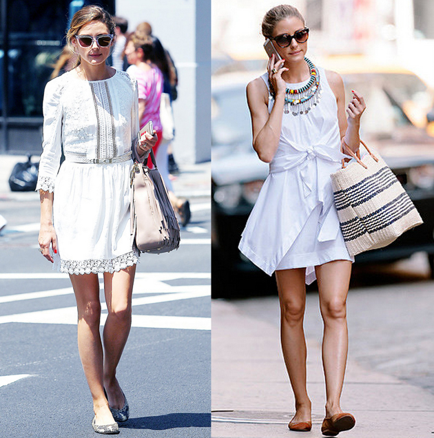 olivia palermo on the streets wearing a white dress and flats. she has a beautiful bag bag