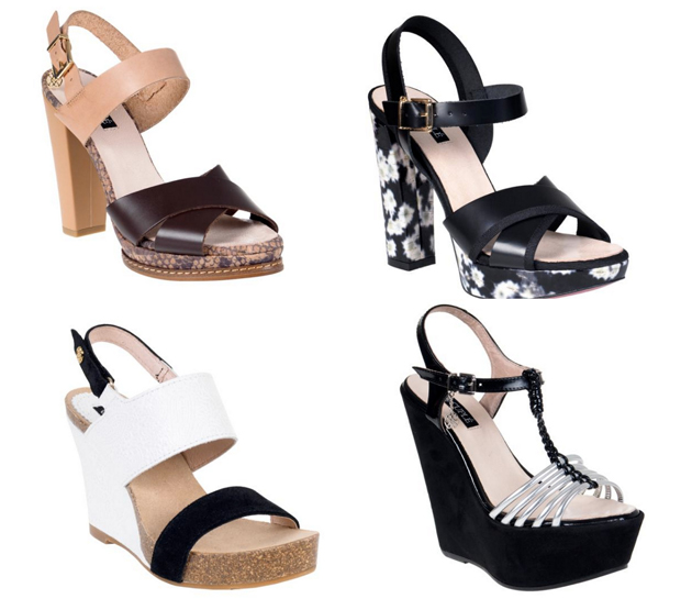 two pairs of shoes with platform. Elegant sandals for summer in beige, black and white