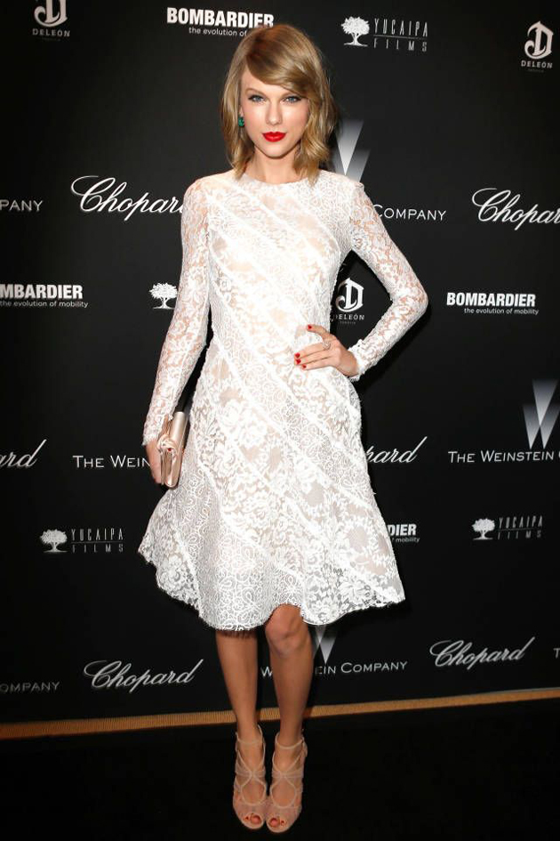 taylor swift in white lace dress with beige pumps at a Hollywood event