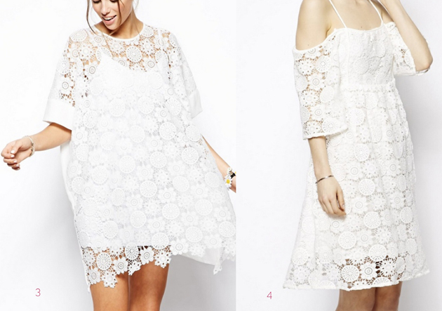 two models wearing white dress and lace from the brand Asos