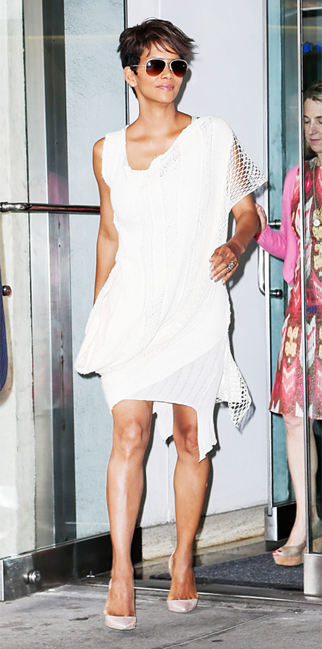 Halle Berry in white dress and beige sandals