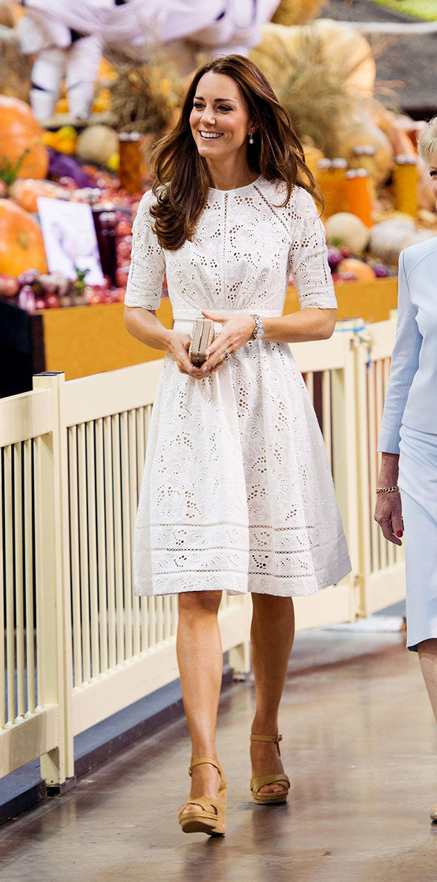 Kate middleton wearing a lace white dress