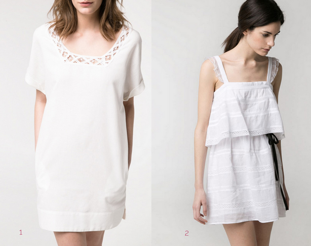two models from Mango wearing white dress