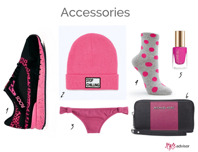 accessories in fuchsia from many brands as Zara, Asos, Mango and Michael Kors