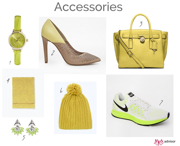 accessories in lime, yellow and mustard from many brands as Zara, Michael Kors, Nike, Asos, Topshop