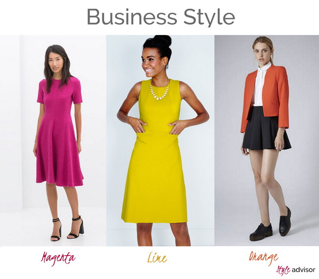 three women elegant in business attire wearing clothing in strong colors. Fuchsia dress from Zara, lime dress from Boden and orange blazer from Topshop.