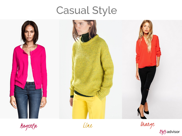 girls in casual style wearing fuchsia from H&M, lime sweater from Zara and orange shirt from Asos