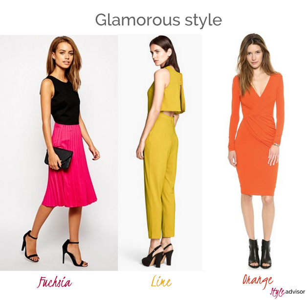 three girls wearing glamorous outfits in the colors of this fall. First she is wearing a pink skirt from Asos, the second girl is wearing a jumpsuit from H&M, and another girl is wearing an orange dress from Bailey