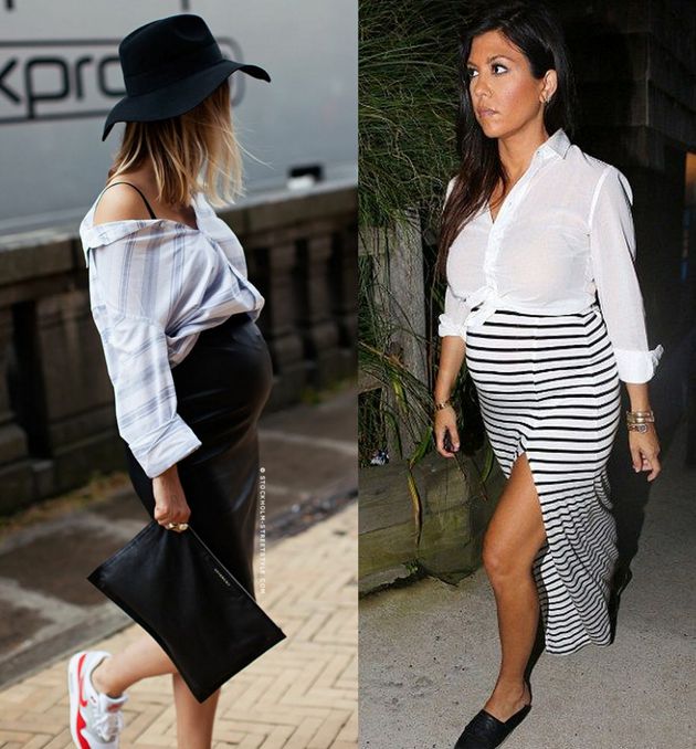 two women wearing long skirts and white shirt on top. they are pregnant.