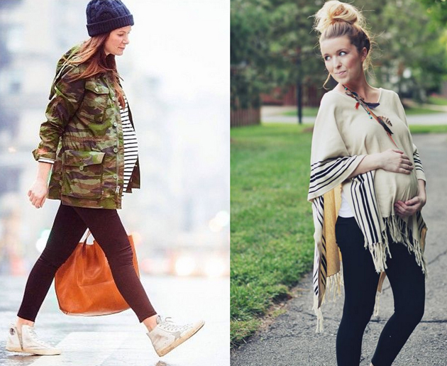 pregnant women wearing cool leggings with long shirts. they are looking great