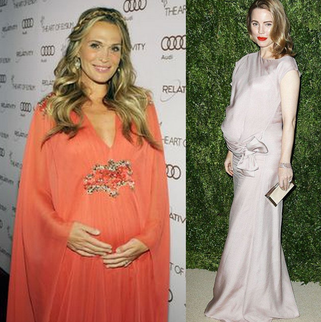 elegant pregnant women wearing gowns with colors