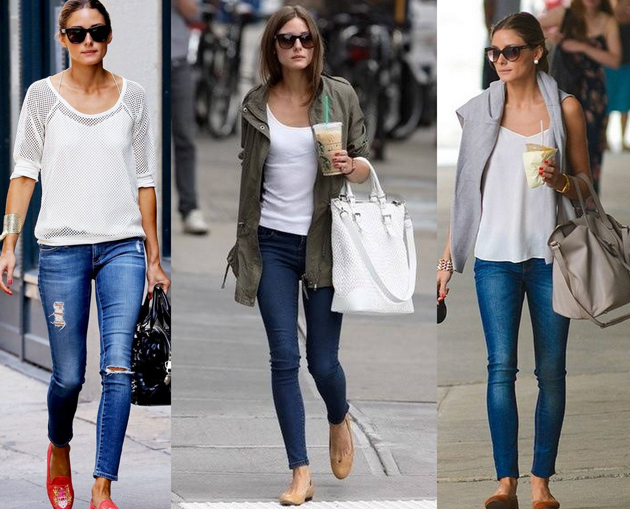 olivia palermo wearing three different looks with jeans and flats