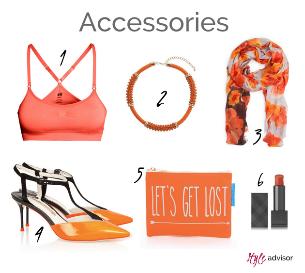 accessories and makeup products in orange. Products from Mango, Net-a-Porter, H&M, Burberry.