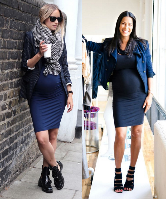 two pregnant women in dresses. They are having the same dress but styled different.