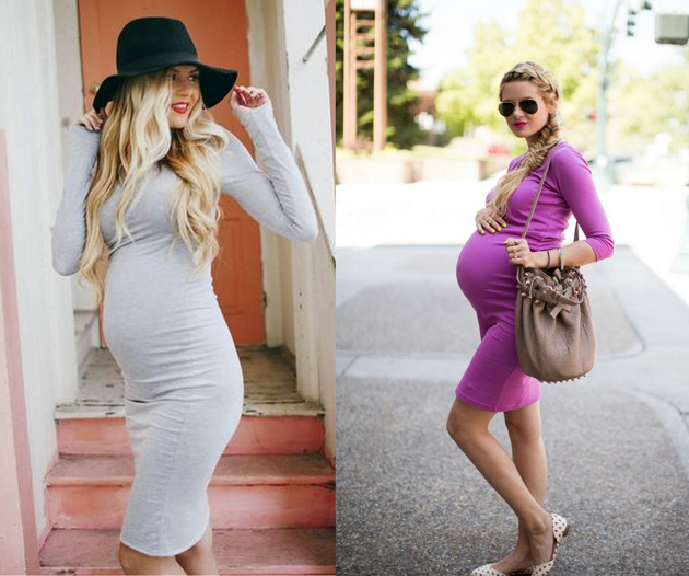 blonde woman pregnant and she is very stylish