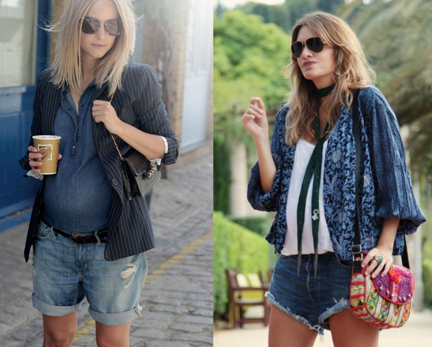 beautiful pregnant women wearing short denim pants and hippie style blouses