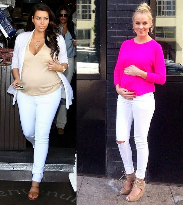 two women wearing white jeans, white tops and parka coats. they are pregnant and they look very good