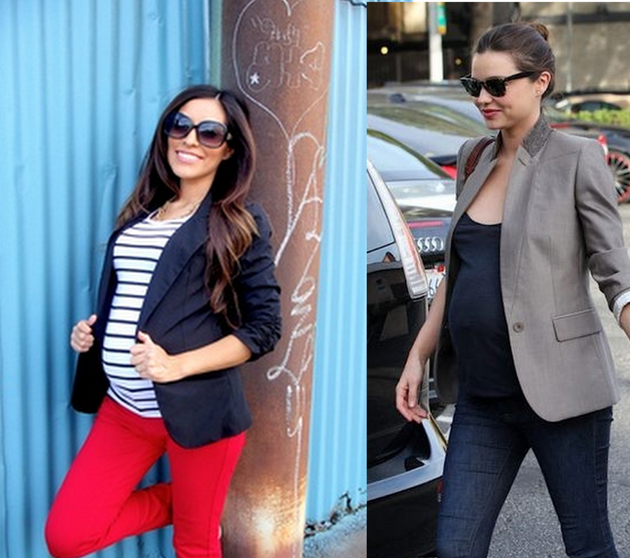 miranda kerr pregnant wearing a grey blazer and jeans.