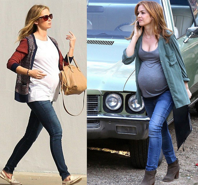 two women wearing blue jeans, white tops and parka coats. they are pregnant and they look very good