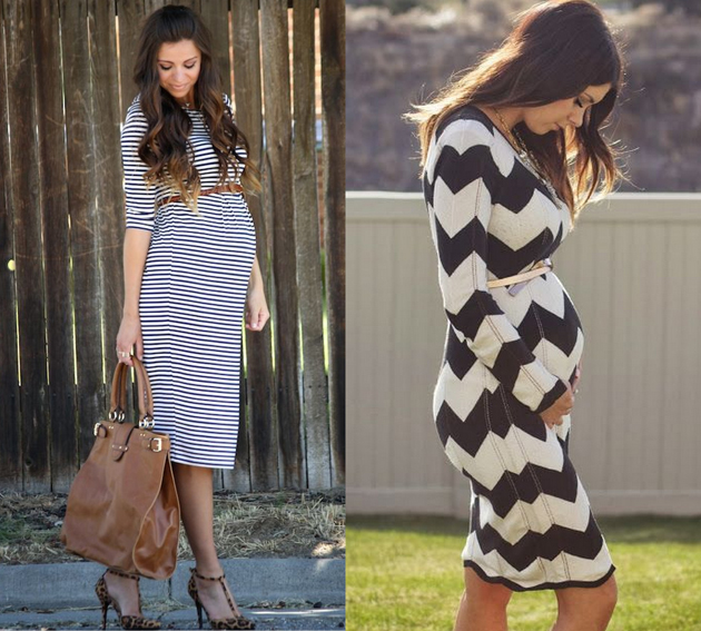 two pregnant women  wearing midi dresses in stripes with brown belt