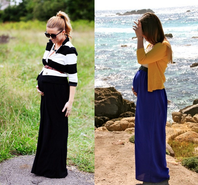 two pregnant women wearing long skirts and cardigans. They are looking very good.